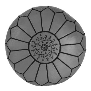 Embroidered Leather Pouf, Black on Grey