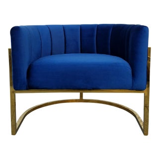 Brass Bar Blue Velvet Club Chair
