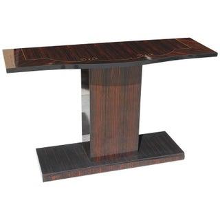 French Art Deco Macassar Ebony Console Table Circa 1940s.