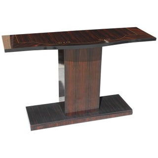 French Art Deco Macassar Ebony Console Table Circa 1940s.