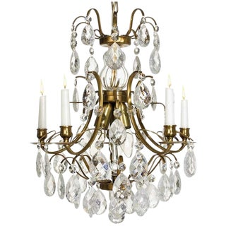 Baroque Chandelier, 5 Cognac Cracked Almond