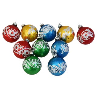 Mid-Century 1960s Glitter Christmas Tree Ornaments w/Box - Set of 10