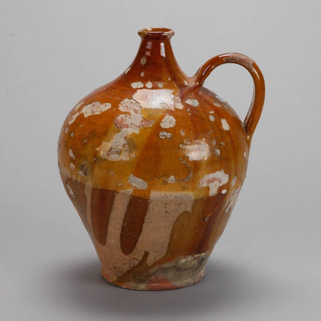 Antique French Pottery Jug with Yellow Glaze - Image 2 of 7