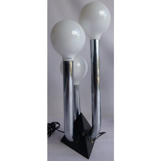 Mid-Century Modern Chrome 70's Lamps- A Pair - Image 5 of 8