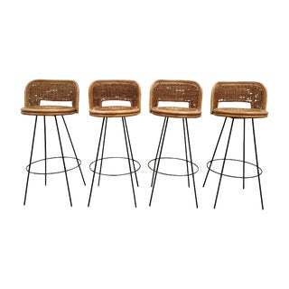 Set of 4 Mid-Century Rattan Bar Stools