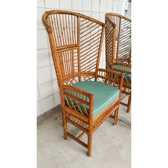Bamboo High Back Arm Chairs- A Pair - Image 4 of 6