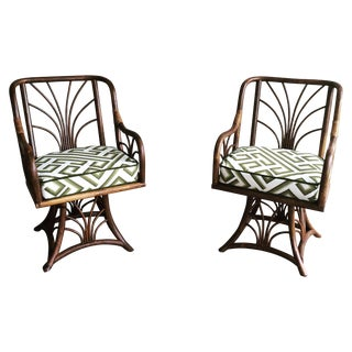 Rattan Swivel Chairs - A Pair