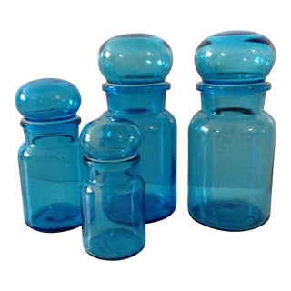 Blue Glass Apothecary Jars Made in Belgium- Set of 4