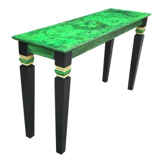 Italian Art Deco Style Faux Congolese Malachite Console Table