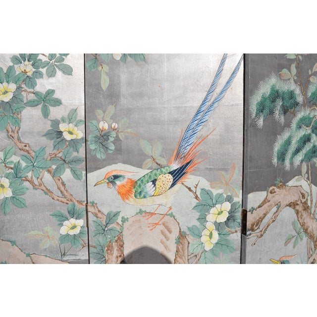 Vintage Chinoiserie Hand Painted Folding Screen - Image 3 of 7