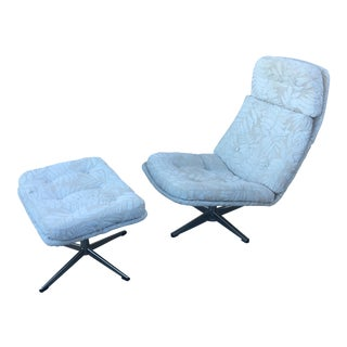 Vintage Overman Style Lounge Chair & Ottoman