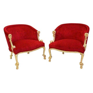 Hollywood Regency Gold Rope & Fuchsia Velvet Chairs - A Pair