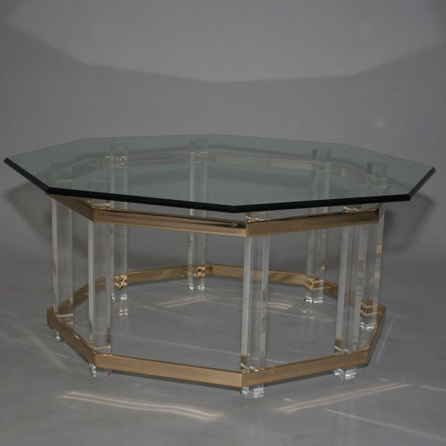 Large octagonal glass lucite brass coffee table chairish for Lucite and brass coffee table