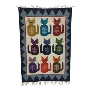 Handwoven Wool Cat Tapestry -