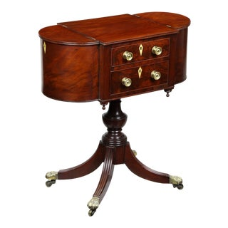 Classical Federal Figured Mahogany Two-Drawer Worktable