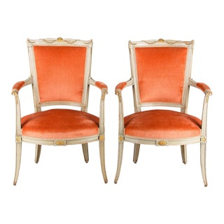 Pair of French Painted Directoire Armchairs, Early 1800s