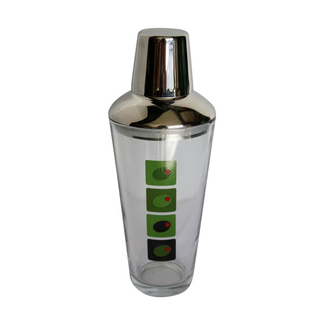 Mid-Century Olive Motif Glass Martini Shaker - Image 1 of 4