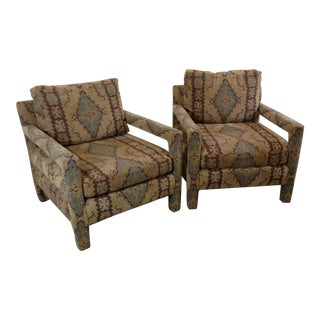 Milo Baughman Style Chenille Oriental Upholstered Parson's Chairs - a Pair