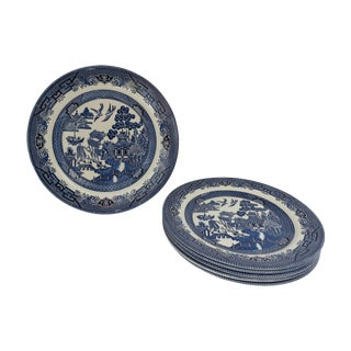 English Blue & White Willow Plates - Set of 6