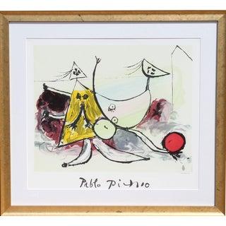 """Pablo Picasso """"Femme Sur La Plage Jouant Au Balloon"""" Lithograph"""
