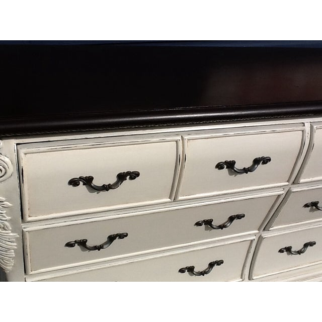 Image of Custom Distress-Painted White & Brown Dresser
