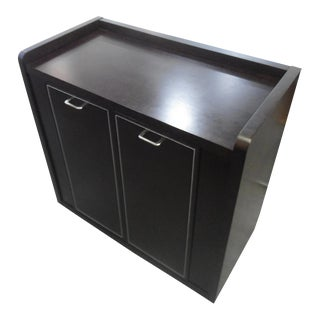 Italy 2000 Modern Dark Wood Leather Bonded Cabinet