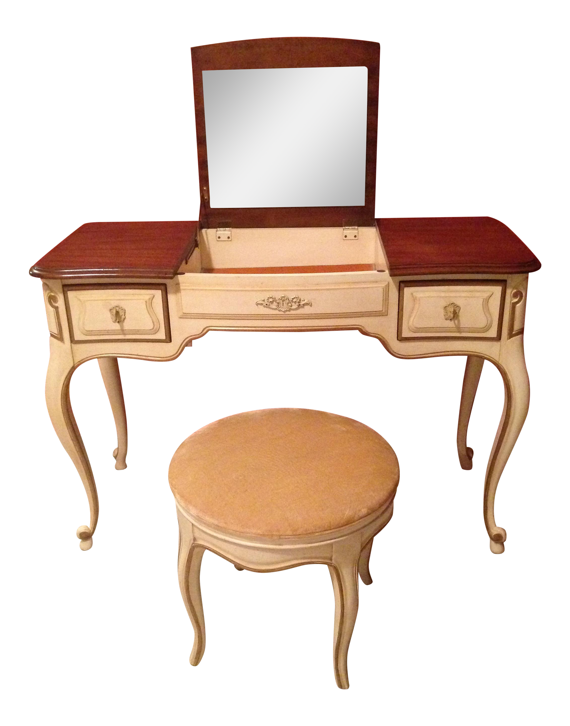 French Provencial Vanity And Matching Swivel Stool Chairish