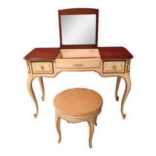 French Provencial Vanity and Matching Swivel Stool