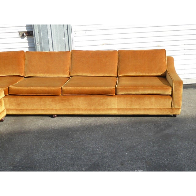 Orange Mid Century Sofa: Mid Century Modern Orange Velvet Sectional Sofa