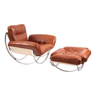 Butterscotch Leather Chrome Lounge Chair & Ottoman