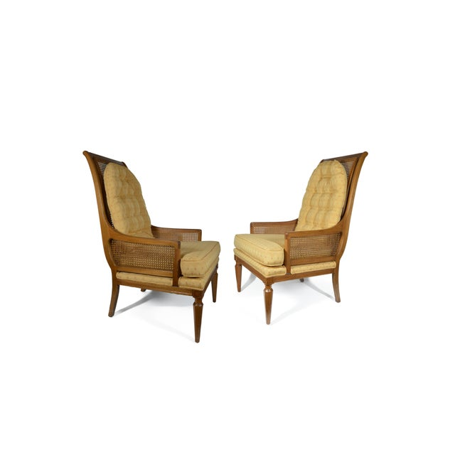 Mid-Century Cane Club Chairs - Pair - Image 2 of 6