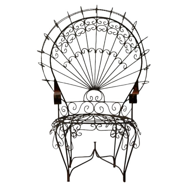 Image of Vintage 1960s Twisted Iron Peacock Chairs - A Pair