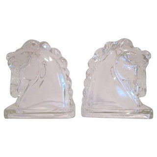 Glass Horsehead Bookend - Pair