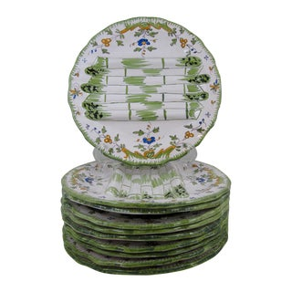 Vintage French Faïence Asparagus Plates - 10