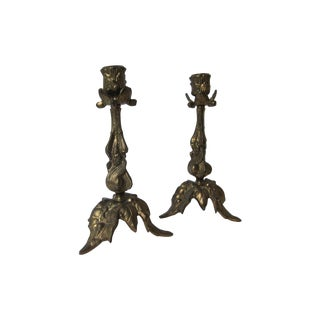Decorative Brass Candleholders - Pair