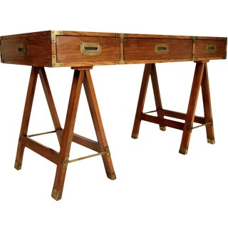 Vintage Campaign Desk with Sawhorse Legs