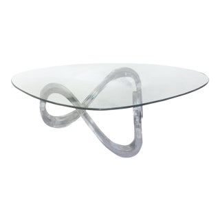 Mid Century Infinity Lucite & Glass Table