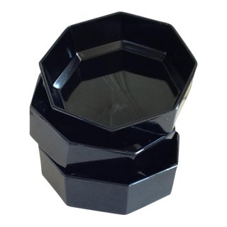 Black Ceramic French Bowls - Set of 3