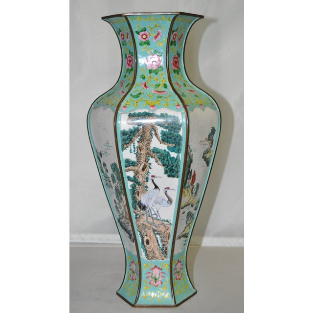 Image of Early 20th Century Hexagonal Enameled Copper Vase