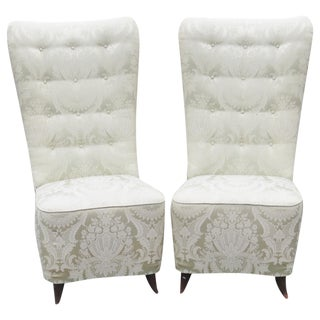 Buffa Tufted Upholstered Slipper Chairs - a Pair