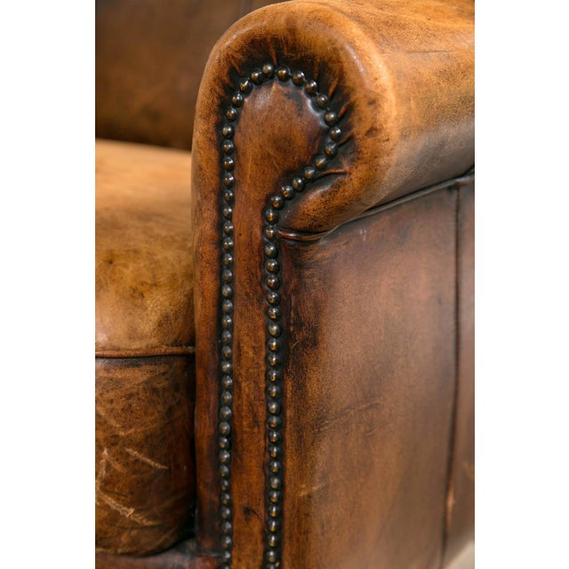 Vintage French Distressed Art Deco Leather Sofa - Image 4 of 9