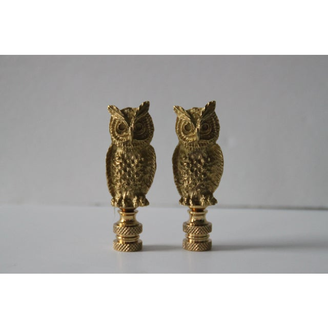 Brass Owl Lamp Finials - A Pair - Image 2 of 3