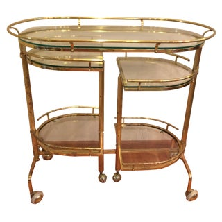 Mid Century Brass & Glass Bar Cart