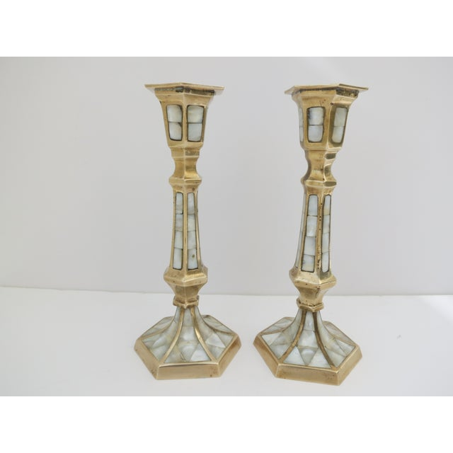 Image of Brass & Mother of Pearl Candleholders - Pair