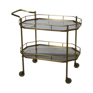 Mid-Century Brass & Glass Two Tier Rolling Server Cart