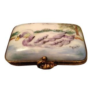 Vintage Limoges Porcelain Swan Box