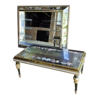 Art Nouveau Mirrored Wall Liquor Shadow Box & Matching Coctail Table - Pair
