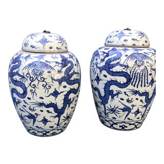 Blue & White Chinese Dragon Stoneware Urns Jars - Pair