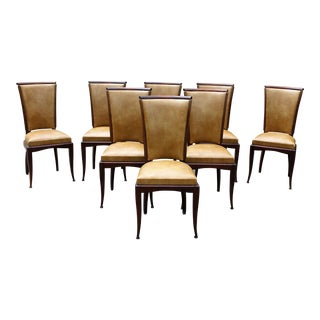 French Art Deco Jules Leleu Style Mahogany Dining Chairs - Set of 8