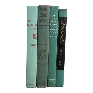Mid-Century Aqua Books - Set of 4